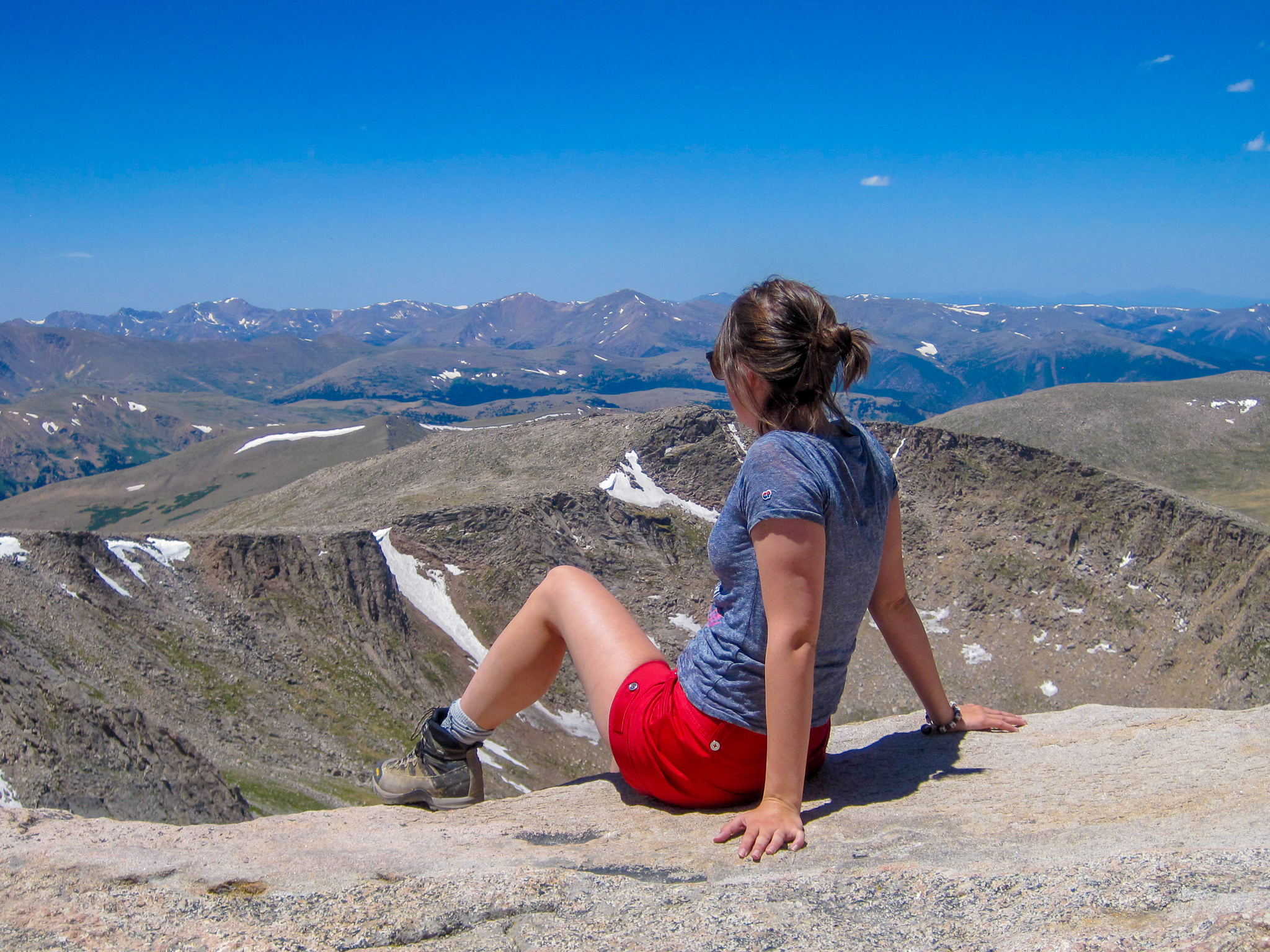 Young Woman at Mt. Evans Peak Mountain View Colorado