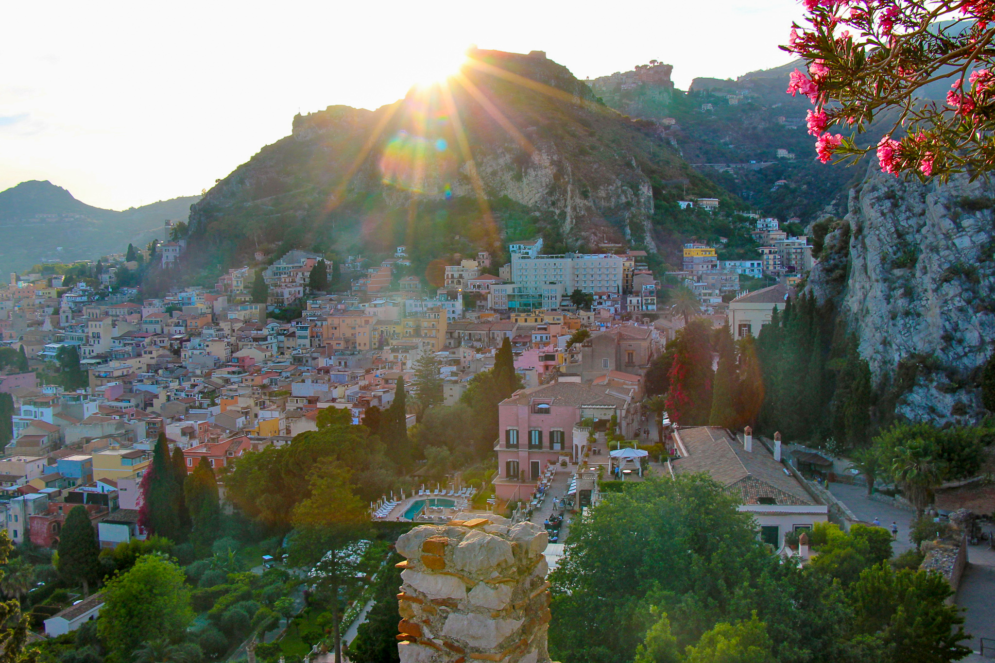 Taormina Sicily Scenery at Sunset in Italy